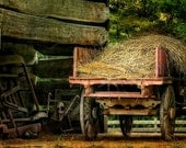 Vintage Hay Wagon In Log Barn, Farm Photo, Antique Farm Implements, Barn Print, Architectural Photography, Primitive Tools, Fine Art