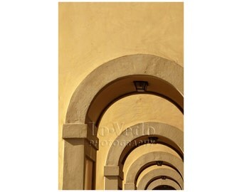 Golden Arches Photo, Florence, Italy, Vasari Corridor, Ponte Vecchio, Mustard Gold Home Decor, Office Decor