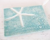 Seahorse soap dish starfish jewelry plate spoonrest teal ocean