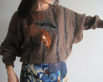 ESCADA Sweater, Knit Pullover, Womens Sweater S\M, Knit Sweater, Vintage Sweater, Knit Brown Sweater, Mohair Pullover, Bat Sleeves