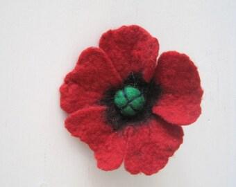 Brooch Flower, Red poppy, Felt Flower, Felted Flower, Felted Poppy, Handmade Flower, Gift Idea For Her, Jewellery Wool, Mother Gift, Poppy