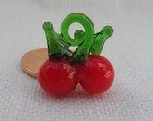 Glass Bead or Charm, Miniature Cherry.  Fruit Bead. Fruit Charm. RED (1) ONE bead