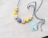 Geometric nursing necklace - organic teething toy for mom - silver grey and bright yellow - baby shower gift under 20 by KangaRusha