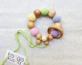 Organic teething ring toy rattle with juniper wood ring - natural waldorf baby toy - soft neutral rainbow - baby shower gift under 20 25