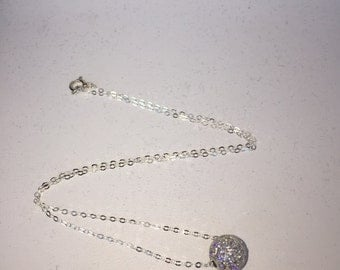Sterling Silver Micropavé CZ Bead Necklace