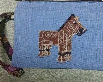 Applique Toy Pony Wristlet or Cell Phone Case Light Blue