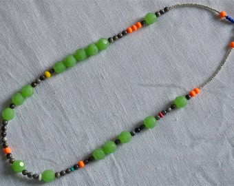 Unique Mint Glass, Grey MOP, Neon Orange Rubber, and Mixed Beaded Necklace