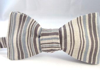 Bowtie  ~ Blue and grey stripe linen fabric    ~ neoud ~ papillion ~tie ~wedding bowtie