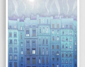 Paris illustration - Foggy day in Paris - Fine art illustration Art Posters Paris art City prints Paris decor Travel poster Blue Wall art