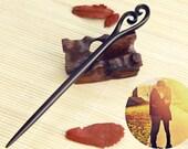 OriginalFire Handcarved Ebony Wood Hair Stick / Hair Pin /Hair Fork - When We Meet (ES001)