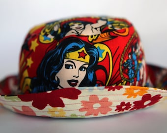 Adult and Child Sizes Available - Wonder Woman and Multicolored Flowers on Neutral Backgrounds Fabrics Reversible Bucket Hat/ Sun Hat