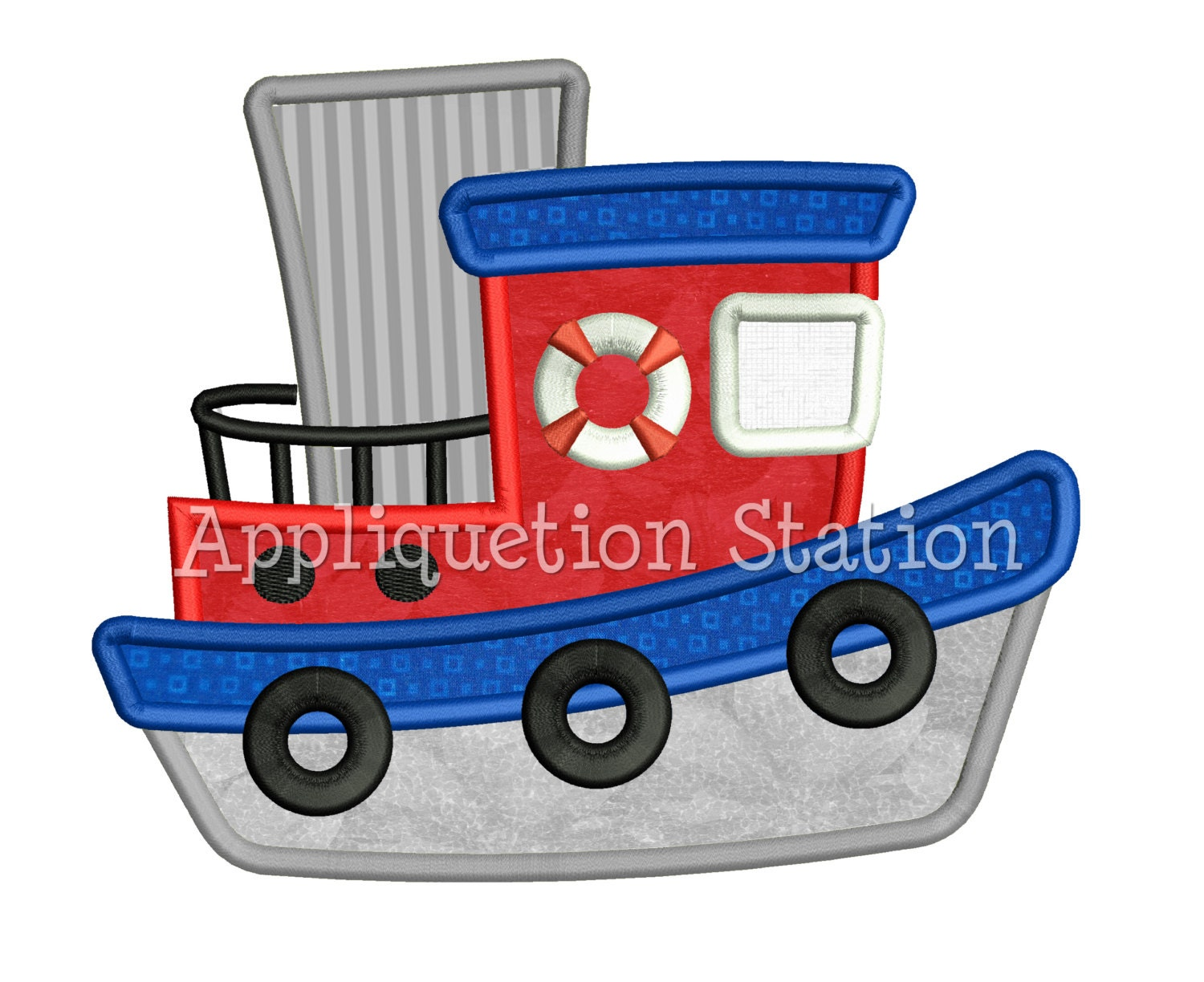 Tugboat applique machine embroidery design boat boy red