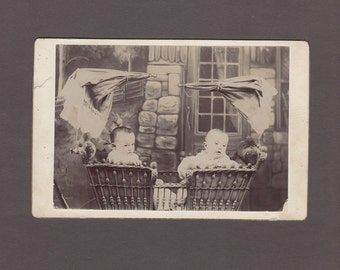 Cabinet Card of Two Babies in a Fancy Carriage ~ Interesting Backmark