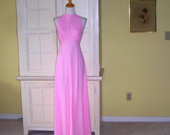 70's  pink polyester maxi dress, prom gown, bridesmaid gown, surprise back with straps. form fitting with flowing skirt,