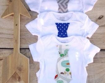 Baby Boy Gift Set - 3 Tie Onesies