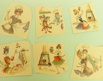 NOS Vintage Kitchen Decal Transfers, Color Brite, Six Pieces, Water Mount Decals, French Women in Aprons - Vintage Home & Trailer Decor