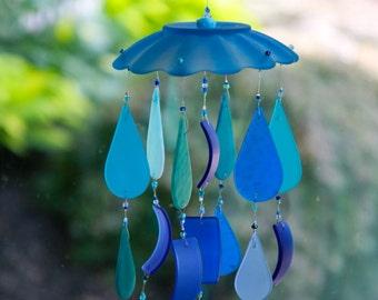 Glass Wind Chime, Blue, Beach Glass, Wedding, Mobile,Wine Bottle