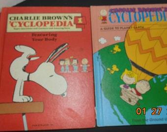 Two Vintage Charlie Brown 'Cyclopedia #1 37 encyclopedia peanuts snoopy HC 80s 90s