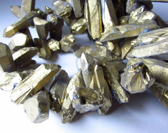 Rustic Gold Titanium Coated Quartz Thick Chunky Point Nugget Beads 21mm - 63mm