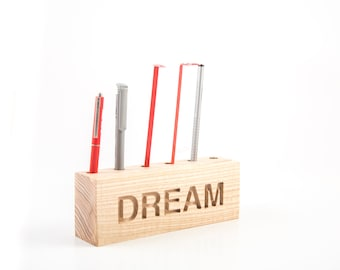 Desk organizer for pencils, brushes and pens. DREAM. Simple and stylish shabby looking wooden item // FREE SHIPPING
