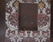 """Damask Brown, Red, Ivory, Yellow Painted Wooden Picture Frame 12.5"""" by 11"""" (Fits 6.5"""" by 5.5"""" Photo)"""