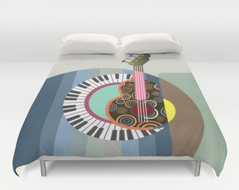 Music Bedding, Cute Bedding Duvet Cover, Queen Duvet Cover, Full Duvet Cover, King Duvet Cover, Bedroom Decor, Colourful Bedding