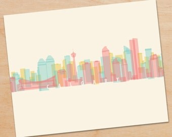 Calgary Skyline Print, Calgary Wall Art, Calgary Print, Calgary Art, Decor, skyline prints, wall art, skyline art, home decor, poster