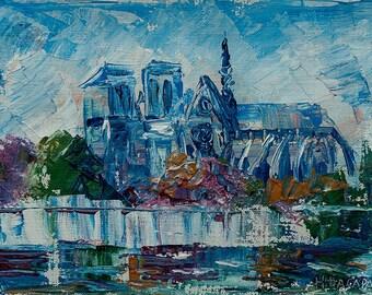 SALE 15% Notre Dame De Paris. FRANCE. PARIS art. Acrylic painting on canvas by Nataly Basarab. 22x30, Impasto. Original Art, signed