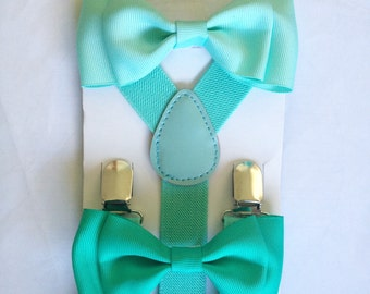 Mint Suspenders Bowtie set Seafoam Mint Baby Bow tie Suspender Blue Boy Bowties Mint Toddler Necktie Men bowtie Wedding Ring Bearer Outfit