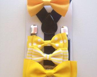Men's Bow tie Yellow Bowtie Baby bow ties Navy Suspenders Boy Bowties Toddler Necktie Men Groomsmen Wedding Ring bearer Outfit Canary Yellow