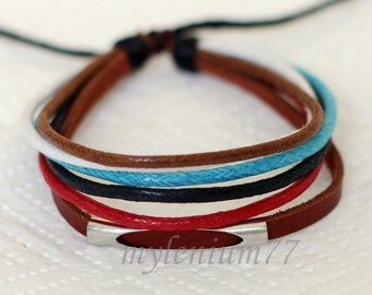 583 Women's brown leather bracelet Leather band bracelet Leather cord bracelet Cotton ropes bracelet Fashion jewelry For women and girls