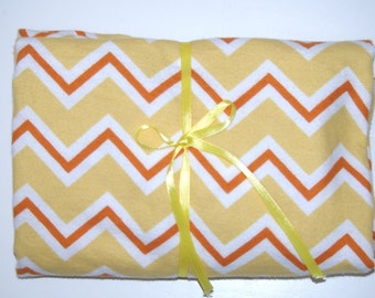 Pack n Play Fitted Cotton FLANNEL Sheet - Yellow orange Chevron