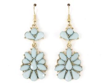Beautiful elegant Baby Blue Flower Drop Earrings,B15