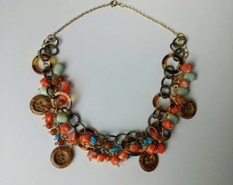 Multi Media Orange Turquoise Brown and Gold Layered Necklace