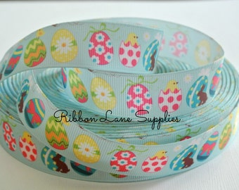 """7/8"""" Ribbon by the Yard Easter-Egg Polka dot Flower blue grosgrain Ribbon-Perfect for Bows Clips Scrap booking Sewing"""