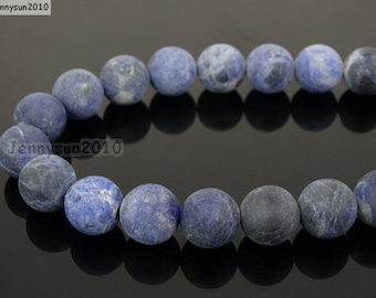 Natural Matte Sodalite Frosted Gemstones 4mm 6mm 8mm 10mm 12mm Round Loose Spacer Beads 15'' Strand Jewelry Design