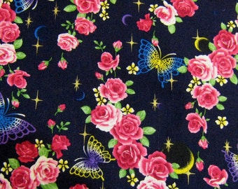 Kawaii  Navy Blue Roses and Butterflies Japanese Cotton Fabric, Floral Cotton Fabric