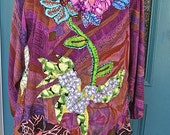 WILD GYPSY DANCER, Lagenlook Art Collage Tunic, Boho Elegance, Hand Embroidered Holiday Dress, Xtra Lrg-Plus Size