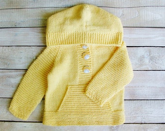 Toddler Girls Clothing - Yellow 100% Cotton Hooded Sweater - Yellow Hoodie for Baby Girls Size