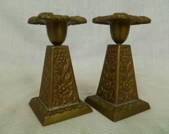 Vintage Arts and Crafts Era Cast Brass Candlesticks, Square Base Brass Candlesticks