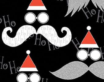 Fat Quarter Ho Ho Ho Santa Moustache Tash Christmas Cotton Quilting Fabric