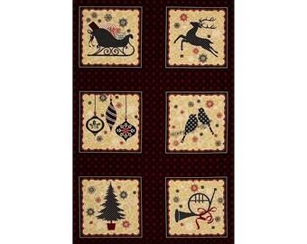 Ornamental Splendour Christmas Cotton Quilting Fabric Panel Benartex 6080m 99