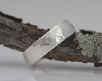 Hammered silver band, size 8 1/2 or custom size, #579.