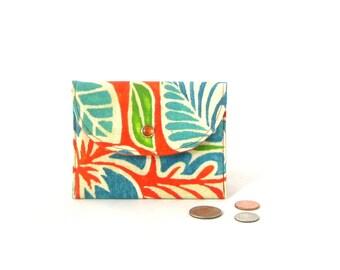 SALE - Orange wallet, small orange wallet, orange flowered cardholder, orange coin purse, summer wallet, orange card holder, gift wallet