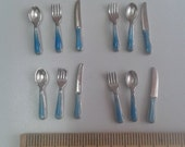 Dollhouse Miniature Cutlery in blue color