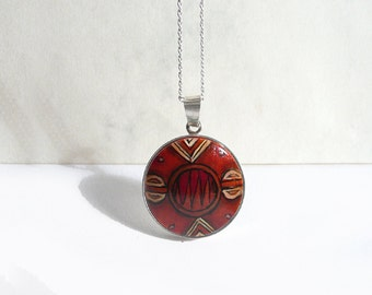 Hand Painted Pendant, African Charm, Sterling Silver Bezel Necklace Chain, 925 Silver Jewelry, Red Brown Pendant, Tribal Style, Artdora