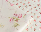 Pink Rose Flower Cotton Fabric, Off White Cotton Large Small Rose Floral Mini Dots, Quilting Clothing Fabric - 1/2 Yard