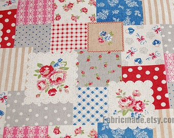 Rose Patchwork Shabby Chic Fabric, Cotton Linen Fabric, Lace Square Rose Dots Plaid Stripe - A Half yard