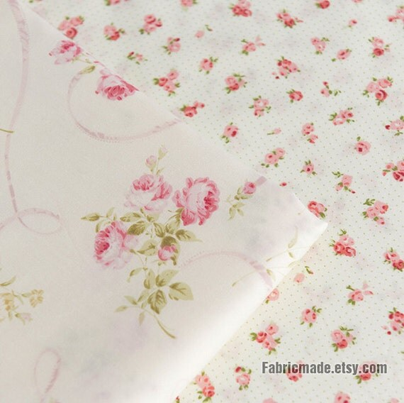 Pink Rose Flower Cotton Fabric Off White Cotton by fabricmade