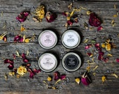 Natural Lip Balm Set Honeyed Lip Butter Essential Oils Vetiver Lavender Patchouli Frankincense Boho Floral Salve Wife Girlfriend Gift